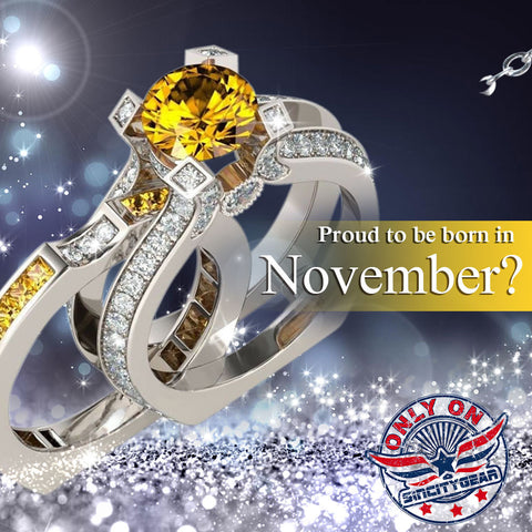 Silver Yellow Topaz (November) Birthstone Ring