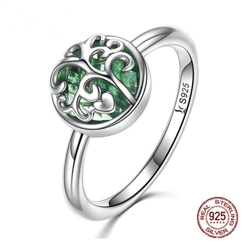 Silver Tree Of Life Emerald Ring