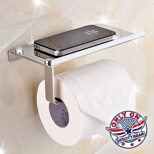Stainless Steel Toilet Paper Holder with Mini Shelf