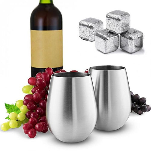 Stainless Steel Stemless Wine Glass & Chilling Cube Set