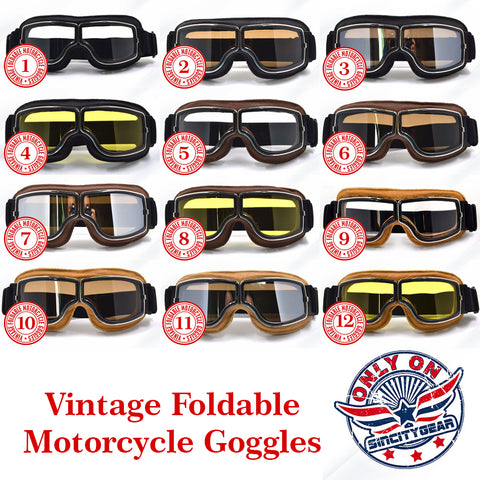 Vintage Foldable Motorcycle Goggles