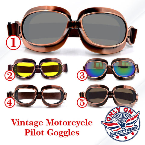 Vintage Motorcycle Pilot Goggles