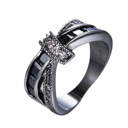 Widowed Cross Black Line Ring