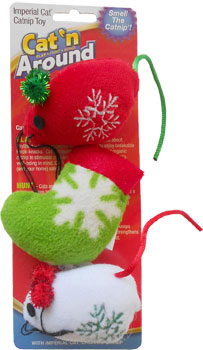 Snowflake Catnip Mice & Stocking Trio - SALE! - 50% OFF - LOW STOCK!