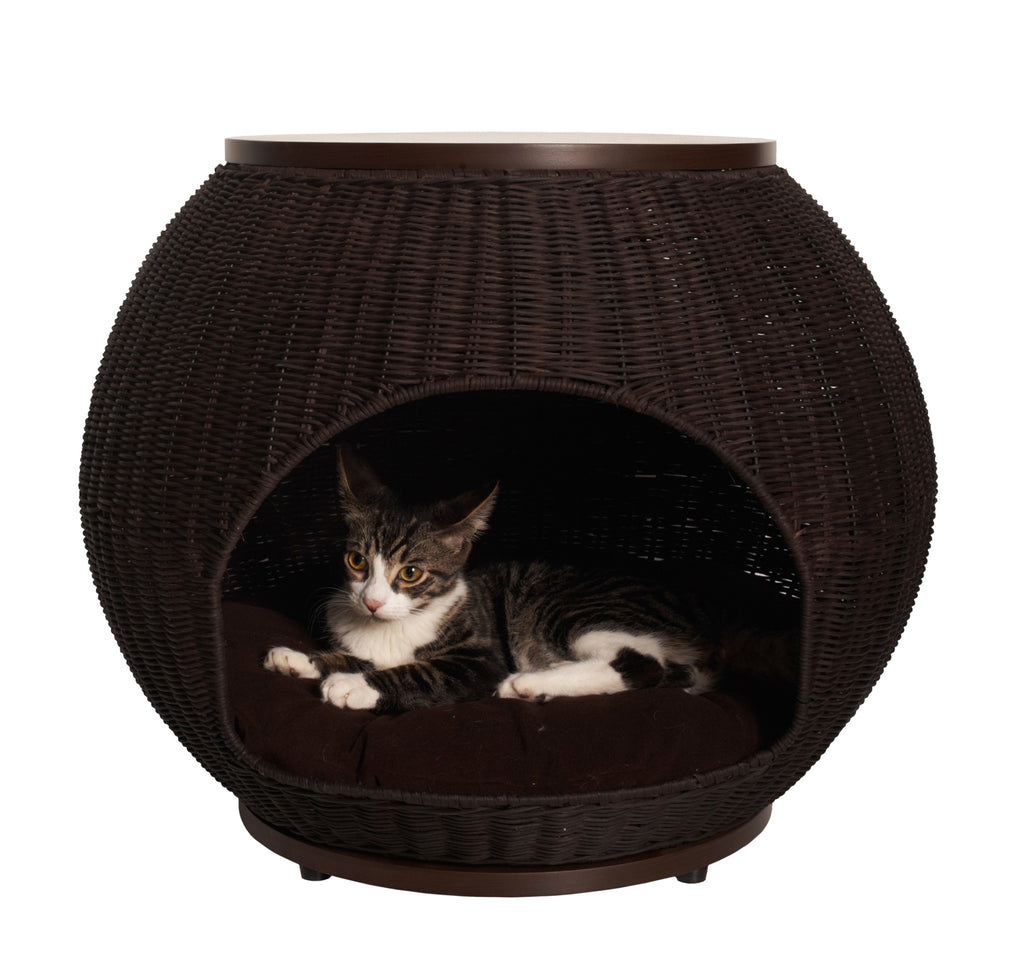 Refined Feline Cat Igloo Deluxe™ Bed & End Table - Espresso - NEW LOWER PRICE!!!