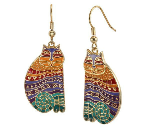 Laurel Burch™ Rainbow Cat 14k Gold Filled Drop Earrings