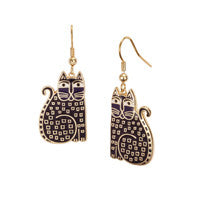 Laurel Burch™ Indigo Cat Gold Drop Earrings - NEW!!!