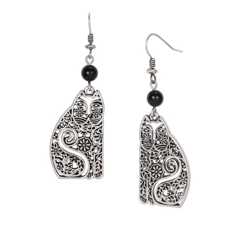 Laurel Burch™ Elijah Cat Silver Drop Earrings - NEW!!!