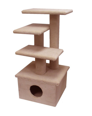 Scruff Jr. Carpet & Sisal Cat Tree & Condo - Shown in beige