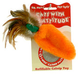 Cats With An Attitude® Refillable Catnip Toy - Feather Top Carrot