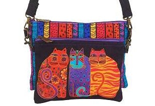 Laurel Burch feline friends cross body