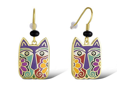 Laurel Burch™ Blossoming Cat Drop Earrings - NEW!!!