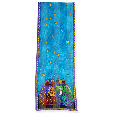 Laurel Burch™ Celestial Felines Silk Rectangular Scarf - NEW!!!