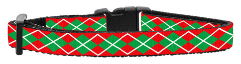 Holiday Cat Nylon and Ribbon Breakaway Collar - Christmas Argyle Pattern - NEW!!!