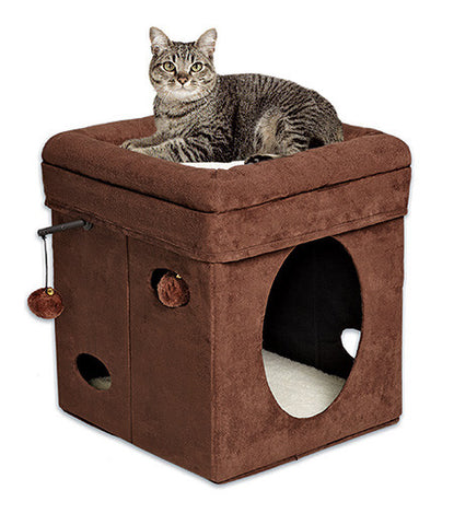 Curious Cat Cube - Brown Faux Suede