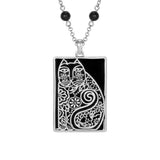 Laurel Burch™ Elijah Silver Onyx Swinging Cat Pendant