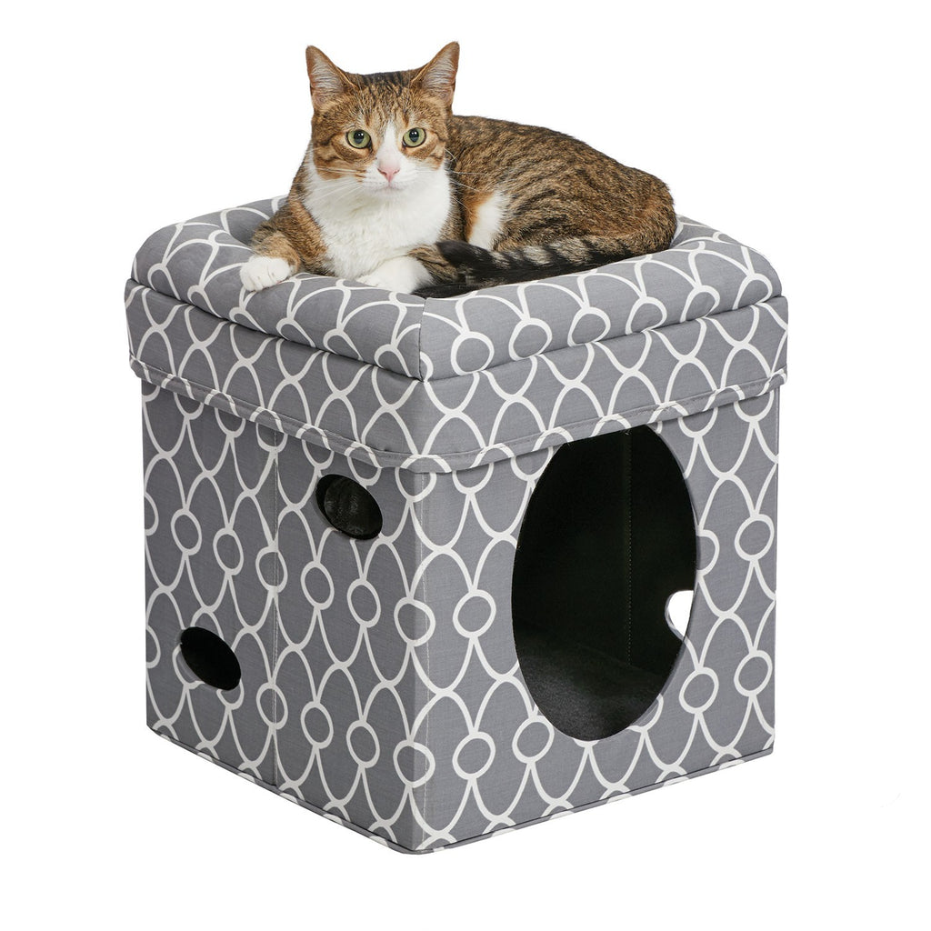 Curious Cat Cube - Grey/White Pattern - NEW!!!