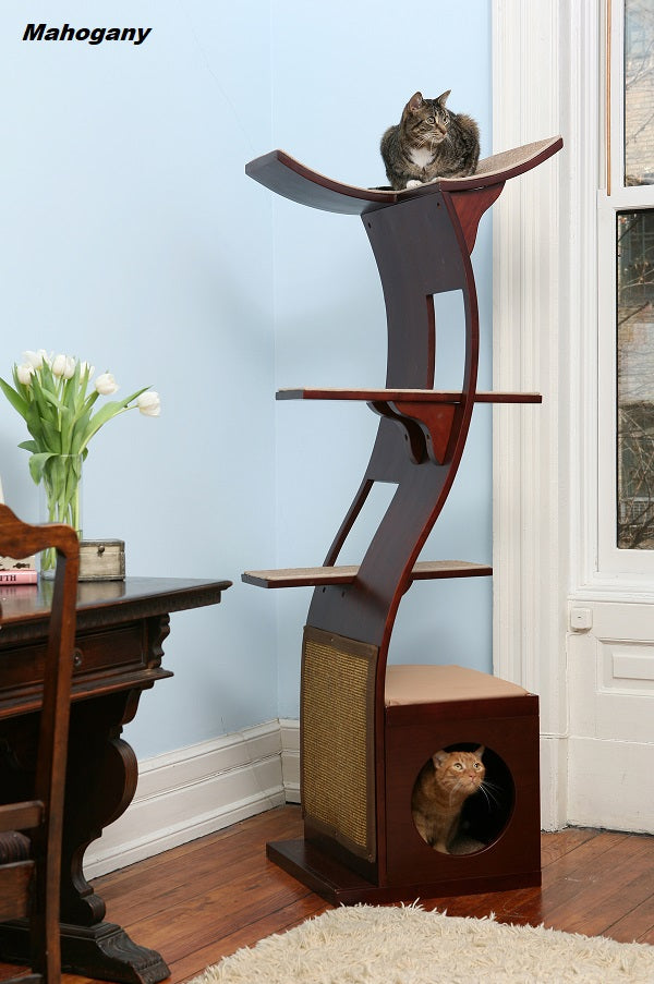 Lotus™ Cat Tree - Styled for the Design Conscious Cat Lover's Cat! - MAHOGANY