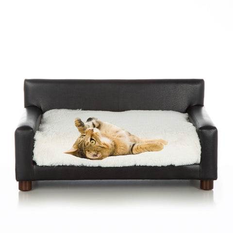 Metro Black Faux Leather with Shaggy Oyster Velvet Cushion