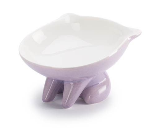 Raised Ceramic Cat Shaped Bowl - Lavender
