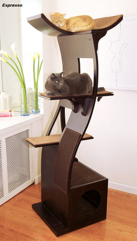 Lotus™ Cat Tree - Styled for the Design Conscious Cat Lover's Cat!  - ESPRESSO