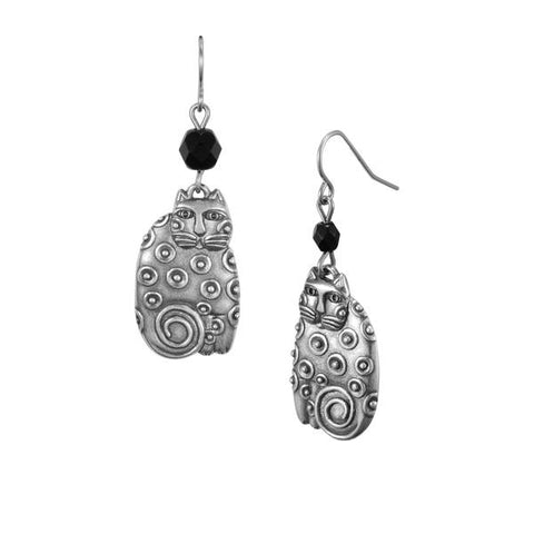 Laurel Burch™ Sundry Cat Silver Drop Earrings - NEW!!!