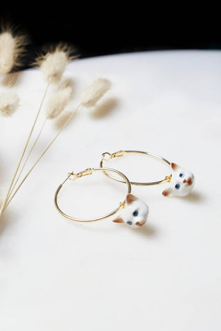 Tiny George Meow Meow Hoop Earrings - NEW!!!
