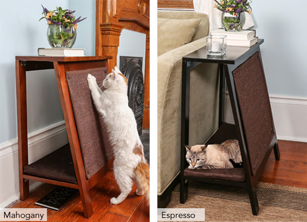A-Frame Cat Bed and End Table - Espresso and Mahogany