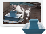 Drinkwell Pagoda Cat Fountain - Teal Ceramic