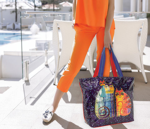 Laurel Burch™ Batik Felines Shoulder Tote - NEW!!!