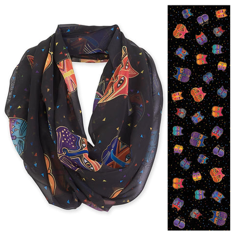 Laurel Burch™  Feline Faces Black Infinity Scarf - NEW!!!