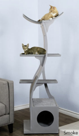 Cat Tree Lotus™  - Styled for the Design Conscious Cat Lover's Cat - SMOKE