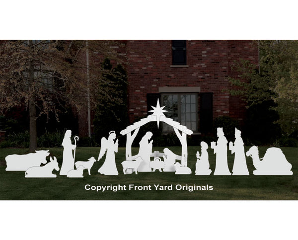 Complete Large White Outdoor Nativity Scene