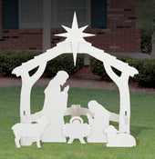 Medium White Outdoor Nativity Display