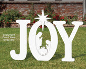 Outdoor White JOY Nativity Display