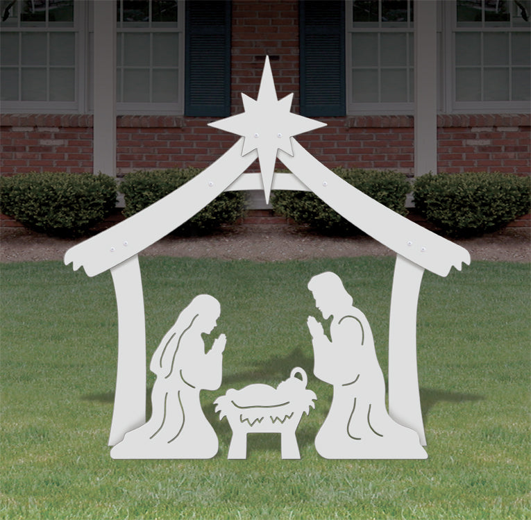 Medium Holy Family Outdoor Nativity Display