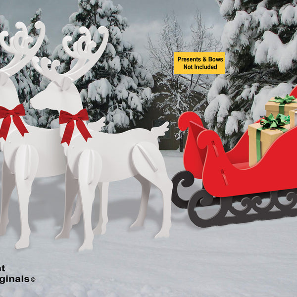 All-Weather Large Reindeer + Red Sleigh Combo