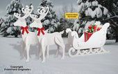 All-Weather Large Reindeer + White Sleigh Combo