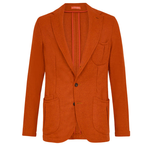 Udeshi orange shetland tweed jacket