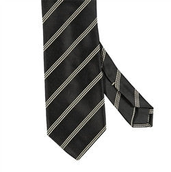 Triple Narrow Stripe Mogador Silk Tie