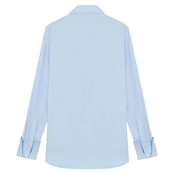 Connery Collar Shirt with Cocktail Cuff in Blue Swiss Poplin