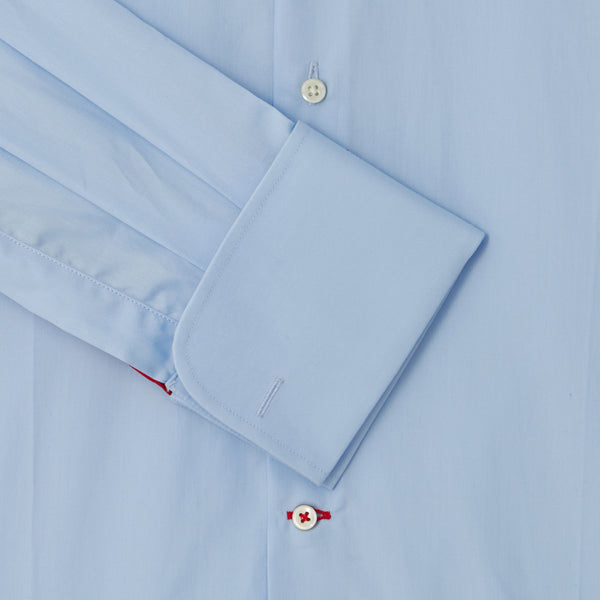 Connery Collar Shirt with Double Cuff in Blue Swiss Poplin