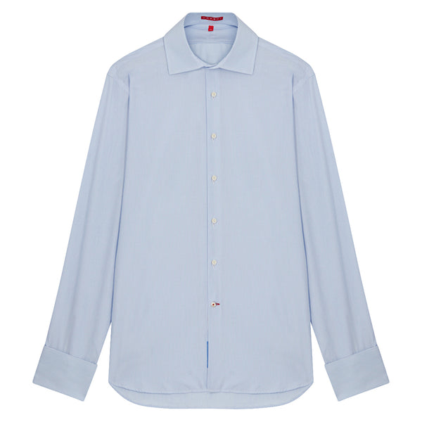 Connery Collar Shirt with Double Cuff in Blue Fine Bengal Stripe Swiss Poplin