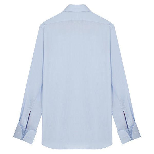 Connery Collar Shirt with Double Cuff in Blue Hairline Swiss Poplin