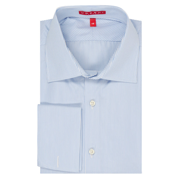 Connery Collar Shirt with Double Cuff in Blue Medium Bengal Stripe Swiss Poplin