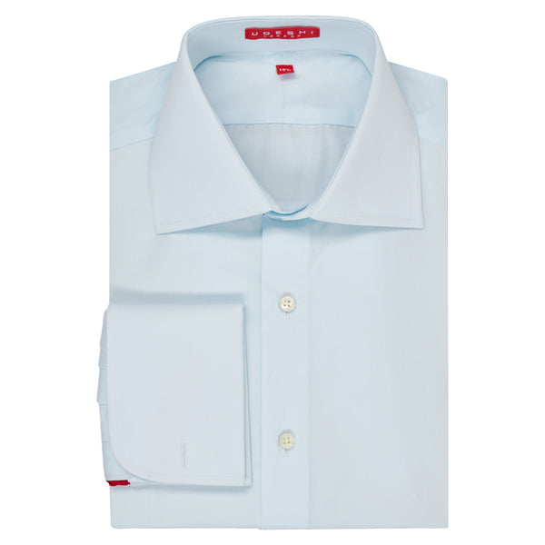 Connery Collar Shirt with Double Cuff in Pale Blue Swiss Poplin