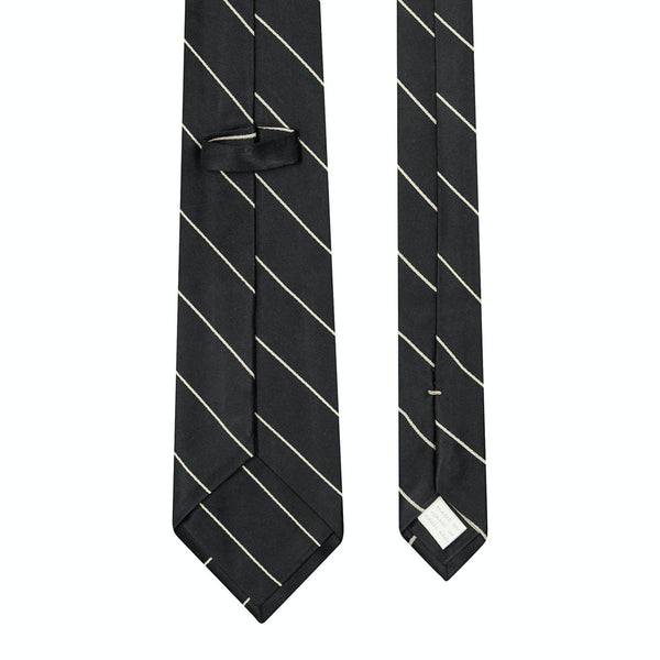 Single Stripe Mogador Silk Tie Black