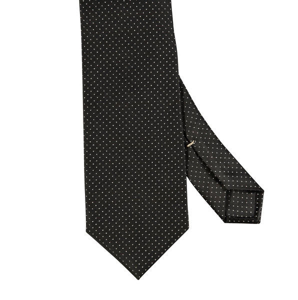 Micro Pin Dot Silk Tie Black