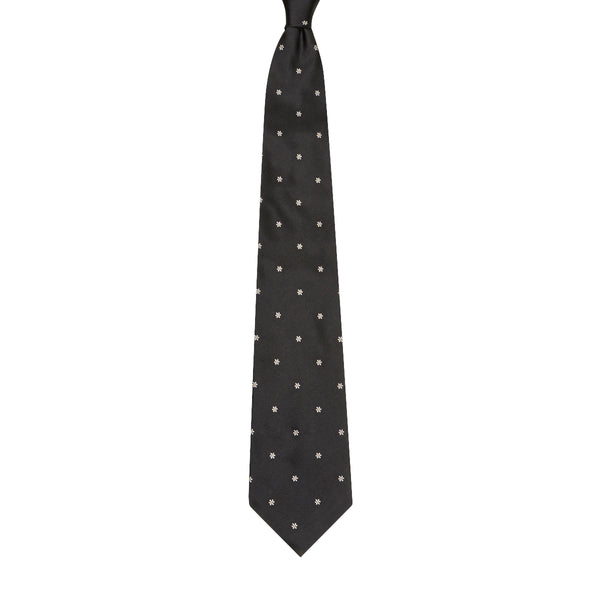 Flower Motif Silk Tie Black