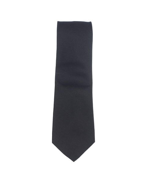 Plain Repp Silk Tie Black